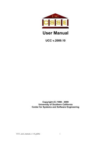 User Manual - USC Center for Systems and Software Engineering ...