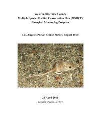 Los Angeles Pocket Mouse Survey Report 2010 - Western Riverside ...