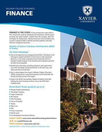 WILLIAMS COLLEGE OF BUSINESS FINANCE - Xavier University
