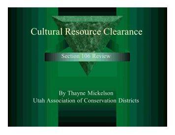 Cultural Resource Clearance – Utah - nasca