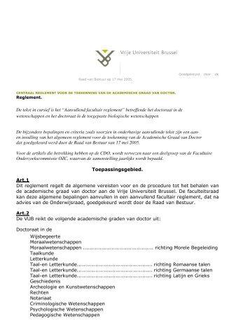 Aanvullend doctoraatsregelement WE.pdf - Faculteit Wetenschappen