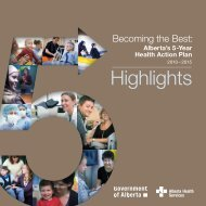 Becoming the Best: Alberta's 5-Year Health Action Plan 2010–2015 ...
