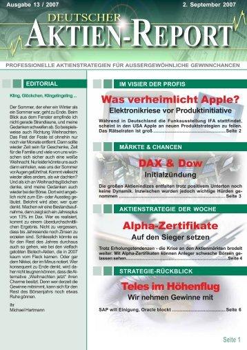 Alpha-Zertifikate - Deutscher Aktien-Report