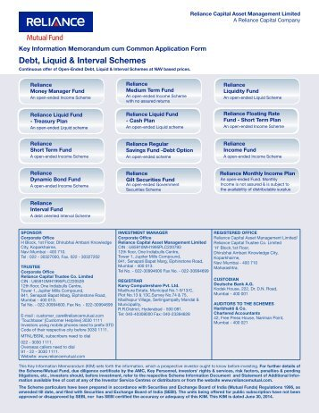 Reliance-Debt Schemes Forms - Rrfinance.com