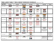 TWIN LAKES FAMILY YMCA GROUP EXERCISE SCHEDULE ...