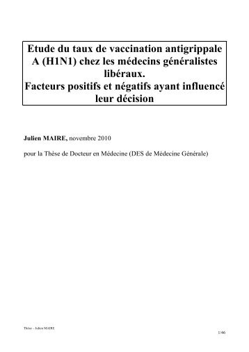 Etude du taux de vaccination antigrippale A (H1N1) chez ... - APIMA