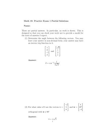 Math 19: Practice Exam 1 Partial Solutions Name: These ... - Westmont