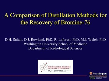 A Comparison of Distillation Methods for the Recovery of