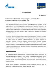 Press Release Gazprom and Wintershall intend to expand gas ...