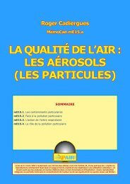 LA QUALITÉ DE L'AIR : LES AÉROSOLS (LES PARTICULES)