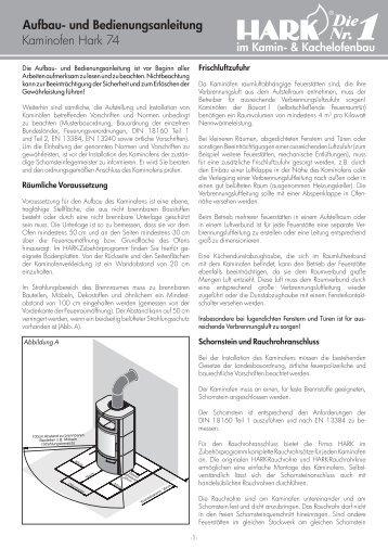 Kaminofen Hark 74 Aufbau- und Bedienungsanleitung