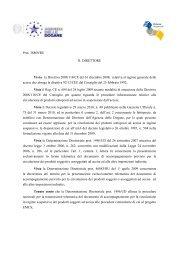 Determinazione Prot. n. 38869/RU del 1° aprile 2010 - Assistenza ...
