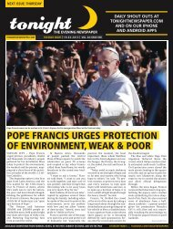 pope francis urges protection of environment, weak & poor - tonight ...