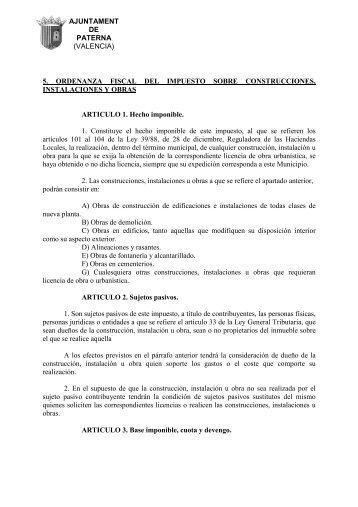 Ordenanza Fiscal del Impuesto sobre Construcciones Instalaciones y