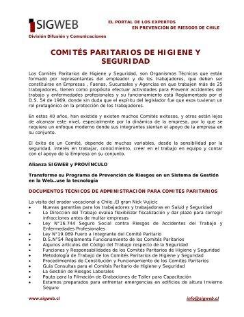 Los Comités Paritarios de Higiene y Seguridad - Sigweb