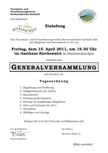 generalversammlung - Marktgemeinde Hochneukirchen-Gschaidt