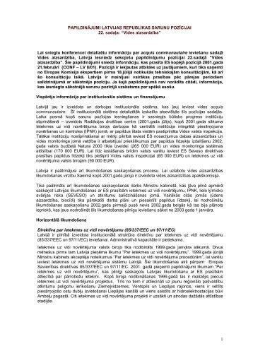 Sarunu pozīcijas papildinājums - Latvijas Republikas Ārlietu Ministrija