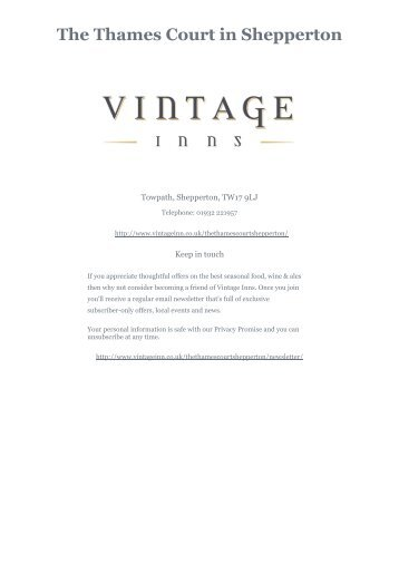 Download The Thames Court Sunday menu - Vintage Inns