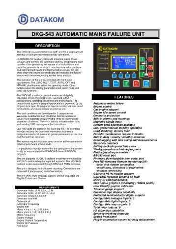DKG-543 AUTOMATIC MAINS FAILURE UNIT