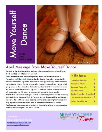 MYD Newsletter- April 2012 - Move Yourself Dance
