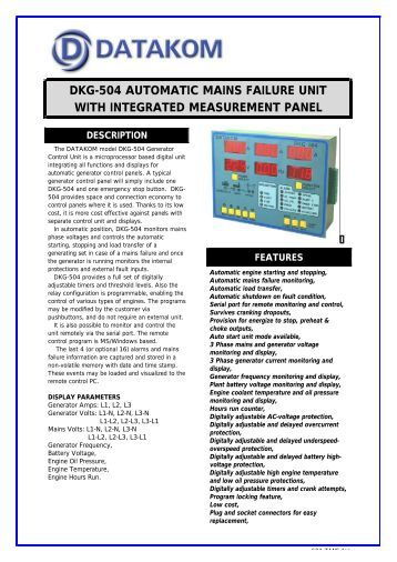 dkg-504 automatic mains failure unit with integrated measurement ...
