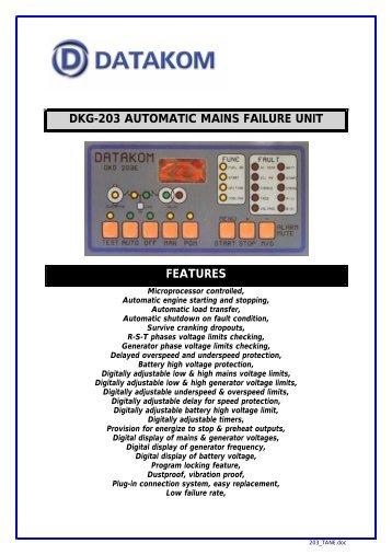 DKG-203 AUTOMATIC MAINS FAILURE UNIT FEATURES