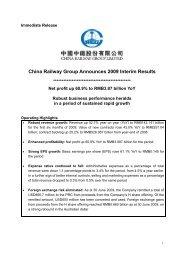 China Railway Group Announces 2009 Interim Results - TodayIR.com