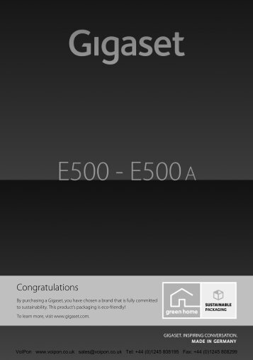 Overview of Gigaset E500 base