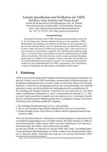 Formale Spezifikation und Verifikation mit VHDL