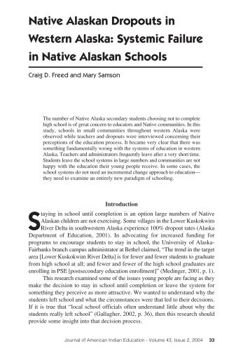 Systemic Failure in Native Alaskan Schools - Journal of American ...
