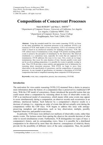 Compositions of Concurrent Processes - ResearchGate