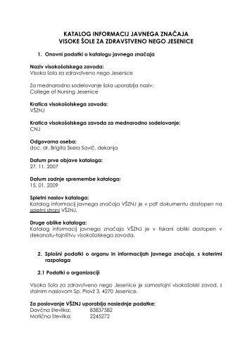 Katalog informacij javnega značaja - Visoka Šola za zdravstveno ...