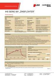 """IHS SERIE 581 """"ZINSFLOATER"""" - Landesbank Berlin - Zertifikate"""