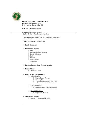 TRUSTEES MEETING AGENDA - Deerfield Township, Ohio