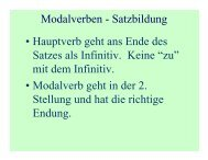 Modalverben - Satzbildung • Hauptverb geht ans Ende des Satzes ...