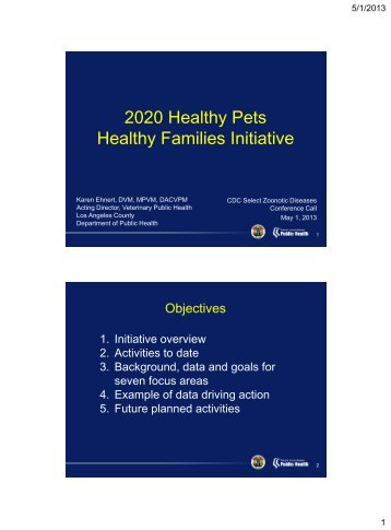 2020 Healthy Pets Healthy Families Initiative - One Health Initiative