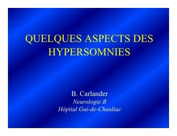 QUELQUES ASPECTS DES HYPERSOMNIES - SPLF