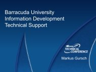 Barracuda University Information Development Technical Support