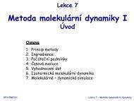 Lekce 7 Metoda molekulární dynamiky I Úvod