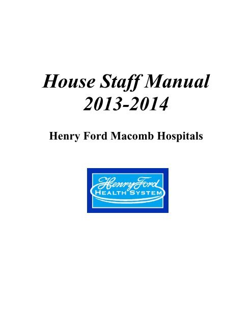 House Staff Manual - Henry Ford Health System