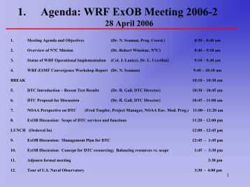 1. Agenda: WRF ExOB Meeting 2