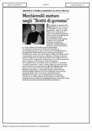 Machiavelli maturo - Istituto Universitario Suor Orsola Benincasa