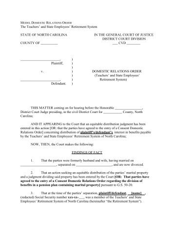 Sample form of qualified domestic relations order - City of Tacoma