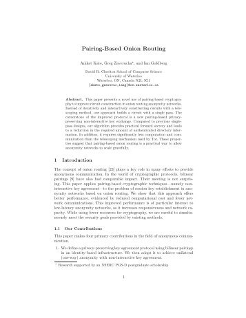 Pairing-Based Onion Routing - Privacy Enhancing Technologies ...