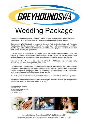 to view wedding compendium. - Greyhounds WA