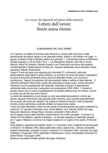 Corriere del Trentino - Laboratorio Storia Rovereto
