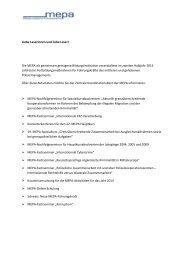Berichte über MEPA-Aktivitäten 2. Halbjahr 2013