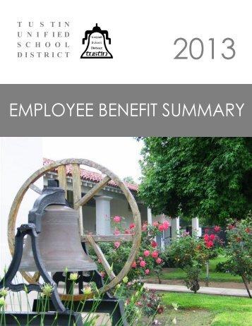 Employee Benefit Summary 2013 - Tustin Unified School District