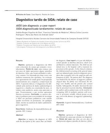 Diagnóstico tardio de SIDA: relato de caso - Pediatria (São Paulo)