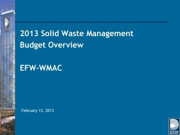2013 Solid Waste Management Budget Overview (PDF)